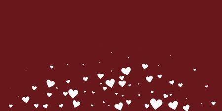 White heart love confettis. Valentine's day explosion terrific background. Falling stitched paper hearts confetti on maroon background. Divine vector illustration.