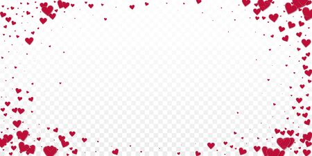 Red heart love confettis. Valentine's day vignette favorable background. Falling stitched paper hearts confetti on transparent background. Extraordinary vector illustration.