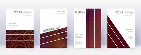Geometric brochure design template set. Orange abstract lines on wine red background. Alluring brochure design. Enchanting catalog, poster, book template etc.