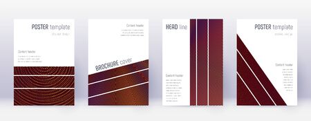 Geometric brochure design template set. Orange abstract lines on wine red background. Alluring brochure design. Enchanting catalog, poster, book template etc.