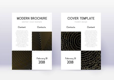 Business cover design template set. Gold abstract lines on black background. Appealing cover design. Energetic catalog, poster, book template etc. Ilustração