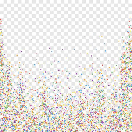 Festive confetti. Celebration stars. Childish bright stars on transparent background. Captivating festive overlay template. Nice vector illustration.