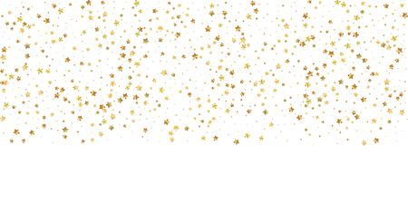 Gold stars random luxury sparkling confetti. Scattered small gold particles on white background. Bold festive overlay template. Valuable vector illustration. Ilustração