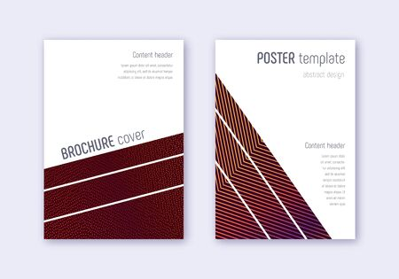 Geometric cover design template set. Orange abstract lines on wine red background. Brilliant cover design. Dramatic catalog, poster, book template etc. Banque d'images - 137633726