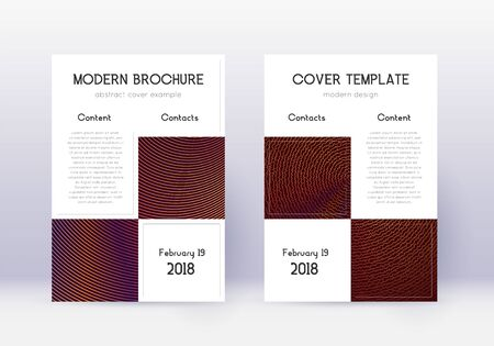 Business cover design template set. Orange abstract lines on wine red background. Artistic cover design. Original catalog, poster, book template etc. Banque d'images - 137733135