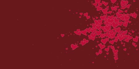 Red heart love confettis. Valentine's day explosion favorable background. Falling stitched paper hearts confetti on maroon background. Delightful vector illustration.