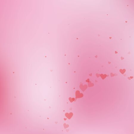 Red heart love confettis. Valentine's day corner curious background. Falling transparent hearts confetti on color transition background. Ecstatic vector illustration.  イラスト・ベクター素材