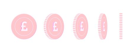 British pound rotating coins set, animation ready. Pink GBP copper coins rotation. United Kingdom metal money. Excellent cartoon vector illustration.