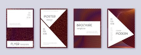 Stylish brochure design template set. Orange abstract lines on wine-red background. Beautiful brochure design. Ravishing catalog, poster, book template etc. Banque d'images - 137831777