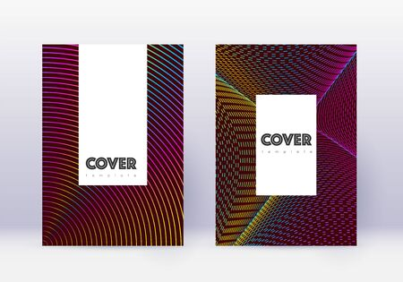 Hipster cover design template set. Rainbow abstract lines on wine red background. Classy cover design. Cute catalog, poster, book template etc. Banque d'images - 137737844