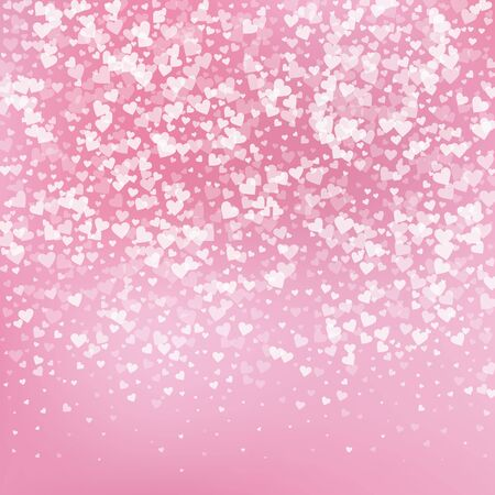 Confettis de amor de corazón blanco. Fondo emocional degradado de San Valentín. Confeti de corazones transparentes cayendo sobre fondo delicado. Ilustración de vector lindo.