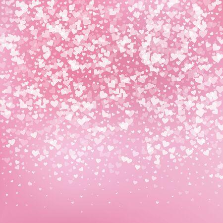 Weißes Herz liebt Konfettis. Valentinstag Gradienten emotionaler Hintergrund. Fallende transparente Herzen Konfetti auf zartem Hintergrund. Nette Vektorillustration.