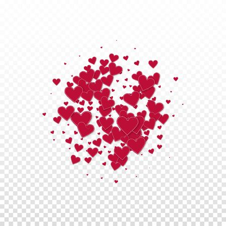 Red heart love confettis. Valentine's day explosion nice background. Falling stitched paper hearts confetti on transparent background. Comely vector illustration.