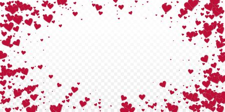 Red heart love confettis. Valentine's day vignette ecstatic background. Falling stitched paper hearts confetti on transparent background. Extra vector illustration.