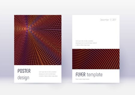Minimalistic cover design template set. Orange abstract lines on wine red background. Elegant cover design. Lovely catalog, poster, book template etc. Banque d'images - 137800494