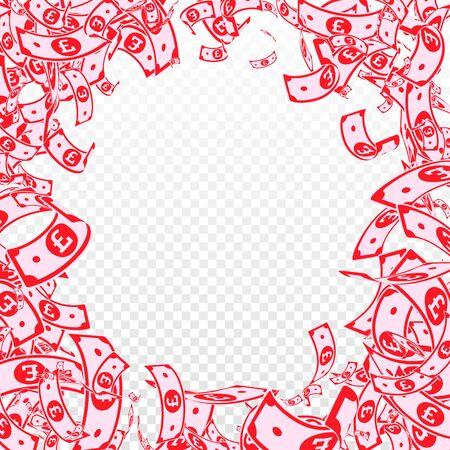 British pound notes falling. Messy GBP bills on transparent background. United Kingdom money. Authentic vector illustration. Graceful jackpot, wealth or success concept. Illusztráció