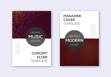 Modern cover design template set. Orange abstract lines on wine red background. Exotic cover design. Fresh catalog, poster, book template etc. Banque d'images - 137800448