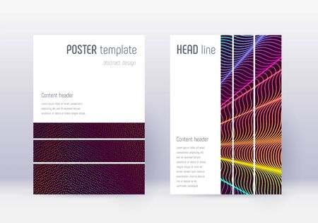 Geometric cover design template set. Rainbow abstract lines on wine red background. Bizarre cover design. Energetic catalog, poster, book template etc. Banque d'images - 137800682