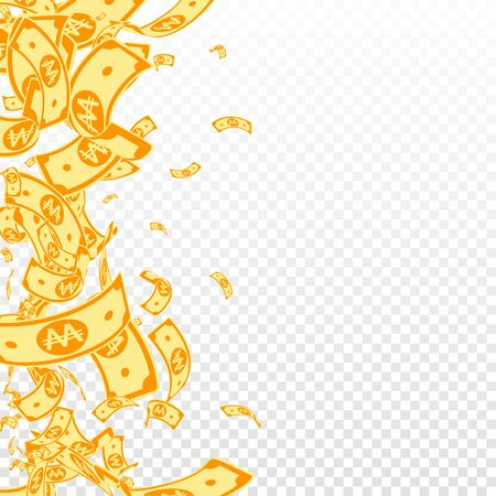 Korean won notes falling. Messy WON bills on transparent background. Korea money. Decent vector illustration. Likable jackpot, wealth or success concept. Stock Illustratie