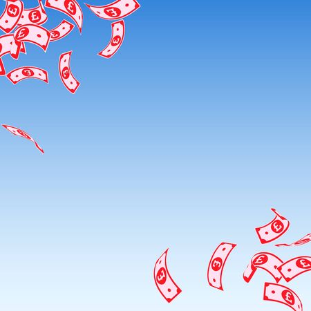 British pound notes falling. Floating GBP bills on blue sky background. United Kingdom money. Authentic vector illustration. Mind-blowing jackpot, wealth or success concept.