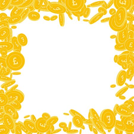 British pound coins falling. Scattered floating GBP coins on white background. Ravishing chaotic border vector illustration. Jackpot or success concept. Illusztráció