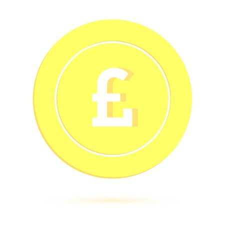 British pound coin isolated on white background. GBP gold yellow coin. United Kingdom metal money. Great cartoon vector illustration.