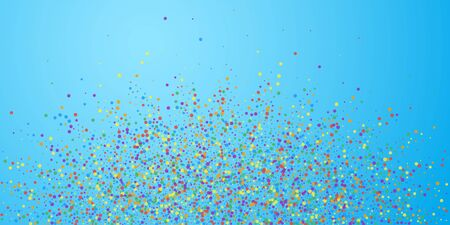 Festive confetti. Celebration stars. Joyous confetti on blue sky background. Cute festive overlay template. Divine vector illustration. Çizim