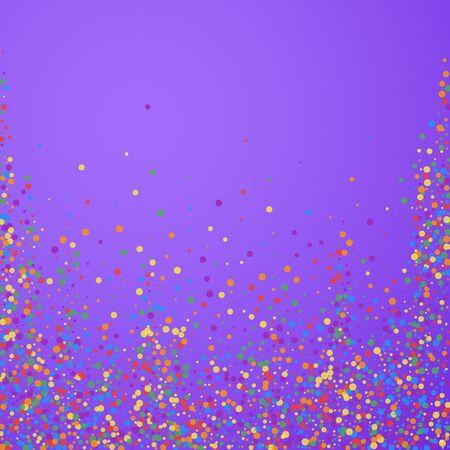 Festive confetti. Celebration stars. Joyous confetti on bright purple background. Captivating festive overlay template. Splendid vector illustration.