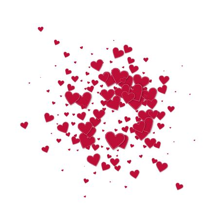 Red heart love confettis. Valentines day explosion uncommon background. Falling stitched paper hearts confetti on white background. Comely vector illustration.
