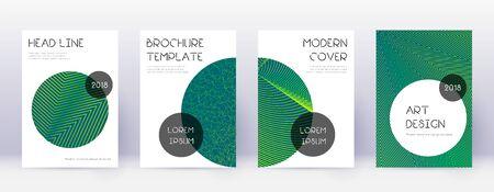 Trendy brochure design template set. Green abstract lines on dark background. Bizarre brochure design. Bewitching catalog, poster, book template etc. Vetores
