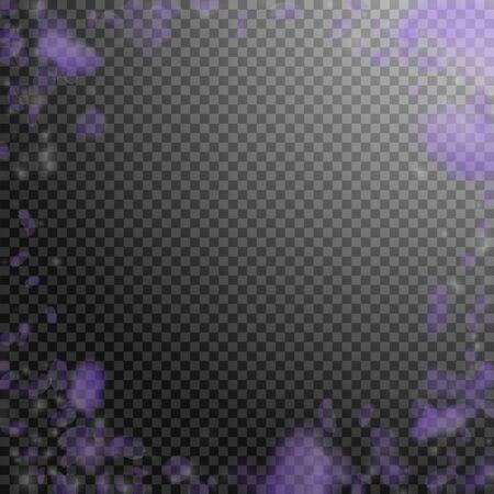Violet flower petals falling down. Astonishing romantic flowers vignette. Flying petal on transparent square background. Love, romance concept. Creative wedding invitation. Foto de archivo - 137894343