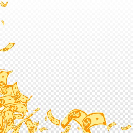 Korean won notes falling. Messy WON bills on transparent background. Korea money. Cute vector illustration. Extraordinary jackpot, wealth or success concept.