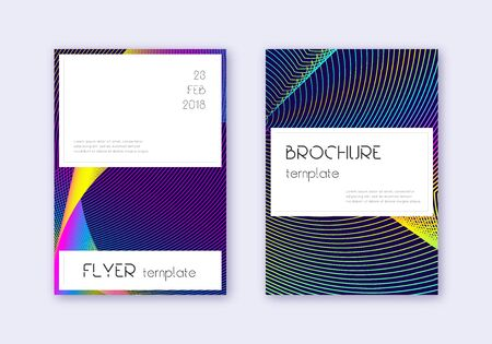 Stylish cover design template set. Rainbow abstract lines on dark blue background. Fetching cover design. Wonderful catalog, poster, book template etc.