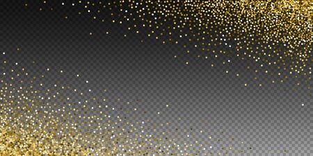 Gold glitter luxury sparkling confetti. Scattered small gold particles on transparent background. Astonishing festive overlay template. Ideal vector illustration. Иллюстрация