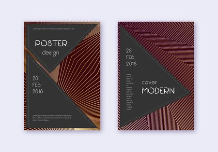 Black cover design template set. Gold abstract lines on maroon background. Actual cover design. Ideal catalog, poster, book template etc.