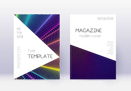Triangle cover design template set. Rainbow abstract lines on dark blue background. Incredible cover design. Ravishing catalog, poster, book template etc.