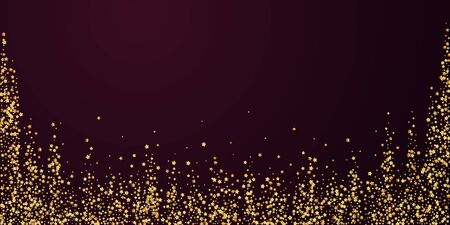 Gold stars luxury sparkling confetti. Scattered small gold particles on red maroon background. Beautiful festive overlay template. Breathtaking vector illustration.