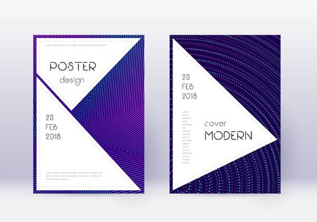 Stylish cover design template set. Neon abstract lines on dark blue background. Fancy cover design. Shapely catalog, poster, book template etc. Ilustracja