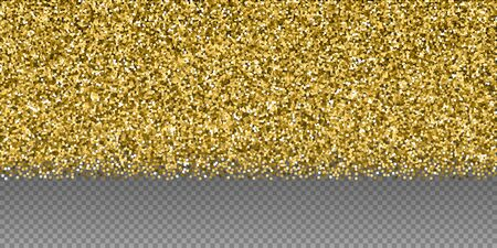 Gold glitter luxury sparkling confetti. Scattered small gold particles on transparent background. Bold festive overlay template. Surprising vector illustration.