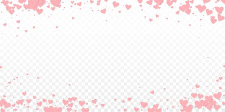 Pink heart love confettis. Valentines day vignette quaint background. Falling stitched paper hearts confetti on transparent background. Extra vector illustration.