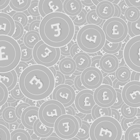 British pound silver coins seamless pattern. Sublime scattered black and white GBP coins. Success concept. United Kingdom money pattern. Coin vector illustration.