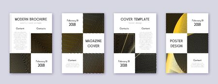 Business brochure design template set. Gold abstract lines on black background. Admirable brochure design. Quaint catalog, poster, book template etc.