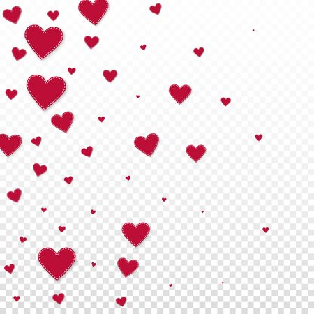 Red heart love confettis. Valentines day gradient precious background. Falling stitched paper hearts confetti on transparent background. Excellent vector illustration.  イラスト・ベクター素材
