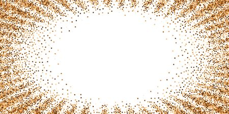 Red round gold glitter luxury sparkling confetti. Scattered small gold particles on white background. Extraordinary festive overlay template. Symmetrical vector illustration.