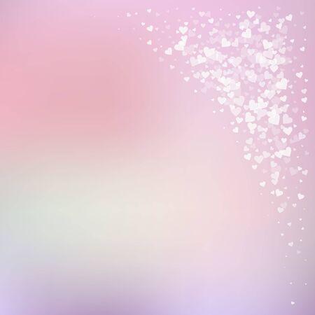 White heart love confettis. Valentines day corner splendid background. Falling transparent hearts confetti on gradient background. Emotional vector illustration.
