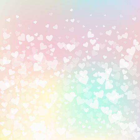 Weißes Herz liebt Konfettis. Stilvoller Hintergrund der Valentinstagsteigung. Fallende transparente Herzen Konfetti auf rosa Hintergrund. Nette Vektorillustration. Vektorgrafik