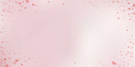 Red heart love confettis. Valentines day vignette great background. Falling transparent hearts confetti on delicate background. Extraordinary vector illustration.