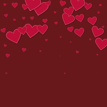 Red heart love confettis. Valentine's day falling rain bizarre background. Falling stitched paper hearts confetti on maroon background. Cool vector illustration.