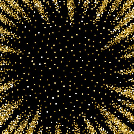 Gold glitter luxury sparkling confetti. Scattered small gold particles on black background. Amusing festive overlay template. Vibrant vector illustration.