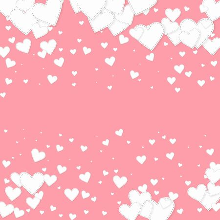 White heart love confettis. Valentines day falling rain superb background. Falling stitched paper hearts confetti on pink background. Creative vector illustration.  イラスト・ベクター素材